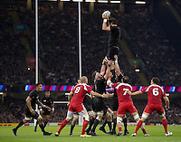 Sam Whitelock of New Zealand wins the ball at a lineout. Rugby World Cup Pool C match between New Zealand and Georgia on October 2, 2015 at the Millennium Stadium in Cardiff, Wales. Photo by: Patrick Khachfe / Onside Images