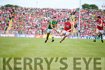 James O'Donoghue Kerry in action against Tomas Clancy Cork in the Munster Senior Football Final at Fitzgerald Stadium on Sunday.