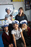 Welsh Water Shorter Shower Campaign at Mount Pleasant Primary School..L-R: Elin Griffiths, Cerys Haslam Taylor, Holly Taylor & Eloise Cawley with Welsh Water teacher Mary Watkins..01.12.11.©Steve Pope