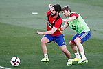 Spain's Isco Alarcon (l) and Nacho Monreal during training session. March 20,2017.(ALTERPHOTOS/Acero)