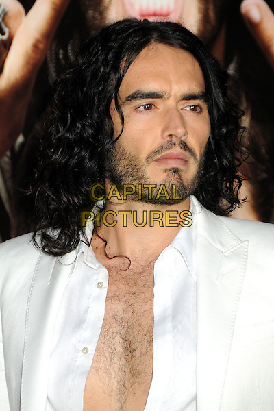 "RUSSELL BRAND.""Get Him To The Greek"" Los Angeles Premiere held at The Greek Theatre, Los Angeles, California, USA..May 25th, 2010.headshot portrait white stubble facial hair unbuttoned.CAP/ADM/BP.©Byron Purvis/AdMedia/Capital Pictures."