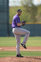Colorado Rockies relief pitcher Mitch Horacek (96) during a Minor League Spring Training game against the Chicago Cubs at Sloan Park on March 27, 2018 in Mesa, Arizona. (Zachary Lucy/Four Seam Images)