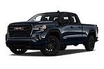 Stock pictures of low aggressive front three quarter view of 2019 GMC Sierra-1500 Elevation 4 Door Pickup Low Aggressive