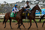 DEL MAR, CA  AUGUST 31: #5 Bast, ridden by Drayden Van Dyke, in the post parade before  the Del Mar Debutante (Grade l) on August 31, 2019 at Del Mar Thoroughbred Club in Del Mar, CA. ( Photo by Casey Phillips/Eclipse Sportswire/CSM)