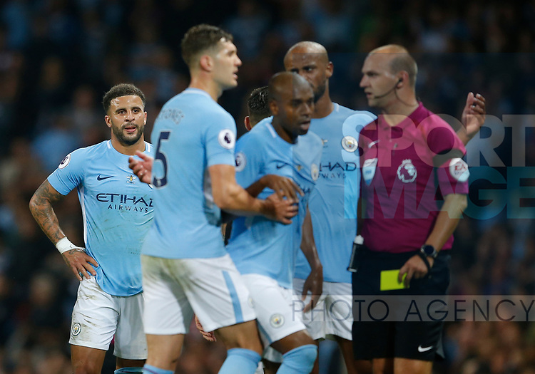 Kyle Walker of Manchester City is sent off during the Premier League match at the Eithad Stadium, Manchester. Picture date 21st August 2017. Picture credit should read: Simon Bellis/Sportimage