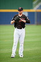 Nashville Sounds left fielder Chris Parmelee (25) warms up before a game against the New Orleans Baby Cakes on May 1, 2017 at First Tennessee Park in Nashville, Tennessee.  Nashville defeated New Orleans 6-4.  (Mike Janes/Four Seam Images)