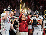 Alabama Crimson Tide head coach Nick Saban hoists the National Championship trophy after defeating the Georgia Bulldogs 26-23 in overtime of the NCAA College Football Playoff National Championship at Mercedes-Benz Stadium on January 8, 2018 in Atlanta. Photo by Mark Wallheiser/UPI