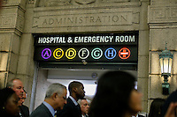 New York City, NY. 23 October 2014.People attend a press conference whit New York Mayor Bill de Blasio and New York Governor at Bellevue Hospital in Manhattan after a doctor who treated Ebola patients in West Africa before returning to New York tested positive for Ebola.
