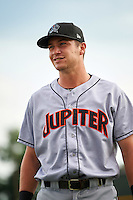 Jupiter Hammerheads Justin Bohn (10) before a game against the Lakeland Flying Tigers on April 14, 2016 at Henley Field in Lakeland, Florida.  Lakeland defeated Jupiter 5-0.  (Mike Janes/Four Seam Images)