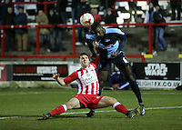 Aaron Pierre of Wycombe Wanderers defends against Accrington Stanley billy kee<br /> during the Sky Bet League 2 match between Accrington Stanley and Wycombe Wanderers at the Wham Stadium, Accrington, England on 16 March 2016. Photo by Tony (KIPAX) Greenwood / PRiME Media Images.