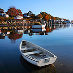Boats In Repose On An Unhurried Autumn Morning At New Harbor, Pemaquid Point, Maine, USA