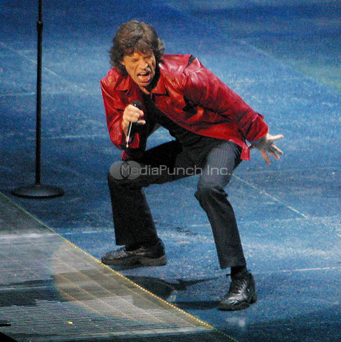 Mick Jagger of the ROLLING STONES in CONCERT AT MADISON SQUARE GARDNED, NEW YORK CITY 2002<br />