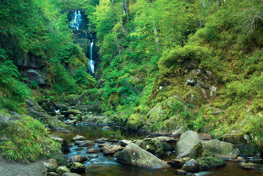Little Fawn Falls and the Allt a' Mhangan, the Lime Craig near Aberfoyle, Loch Lomond and the Trossachs National Park, Stirlingshire