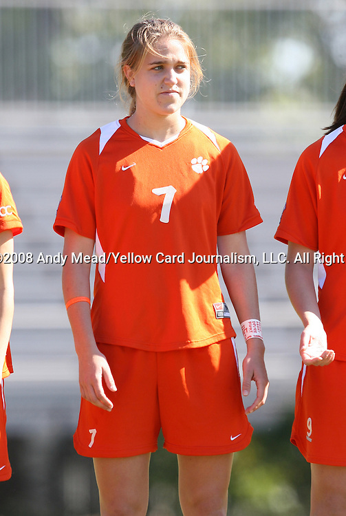 26 October 2008: Clemson's Tara Cort. The Duke University Blue Devils defeated the Clemson University Tigers 6-0 at Koskinen Stadium in Durham, North Carolina in an NCAA Division I Women's college soccer game.