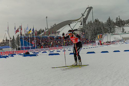 05.03.2016. Oslo Holmenkollen, Oslo, Norway. IBU Biathlon World Cup. Day One. Lena Haecki of Switzerland competes in the Ladies 7.5km sprint competition during the IBU World Championships Biathlon in Holmenkollen Oslo, Norway.