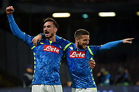 Dries Mertens of Napoli celebrates with Fabian Ruiz after scoring a goal during the Uefa Champions League 2018/2019 Group C football match betweenSSC Napoli and Crvena Zvezda at San Paolo stadium, Napoli, November, 28, 2018 <br /> Foto Andrea Staccioli / Insidefoto