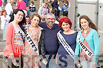 CONTESTANTS: Contestants for the Queen of Ballyheigue who met up with Bill Whelan of River Dance fame at the Ballyheigue Summer Festival on Saturday evening,  l-r:Gemma O'Regan ( Londis), Marie Russell (Colette's Hair Salon), Bill Hughes, Shauna Kenny (Family Resource Centre) and Tara Buckley (Kirbys Bar)............