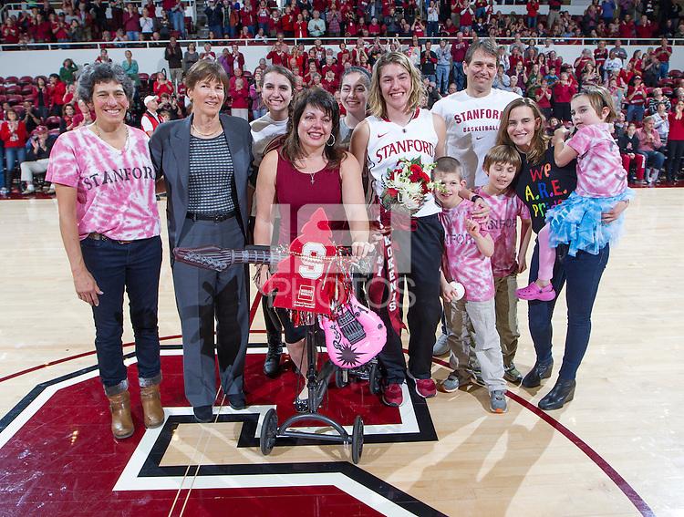 Stanford senior Toni Kokenis, celebrates after the Stanford women's basketball  vs Washington State at Maples Pavilion, Stanford, California on March 1, 2014.