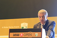 Ahmet Agaoglu, President of Turkish Golf Federation, speaks at a press conference during Wednesday's Pro-Am of the 2018 Turkish Airlines Open hosted by Regnum Carya Golf &amp; Spa Resort, Antalya, Turkey. 31st October 2018.<br /> Picture: Eoin Clarke | Golffile<br /> <br /> <br /> All photos usage must carry mandatory copyright credit (&copy; Golffile | Eoin Clarke)