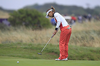 Teresa Lu (TPE) on the 17th green during Round 2 of the Ricoh Women's British Open at Royal Lytham &amp; St. Annes on Friday 3rd August 2018.<br /> Picture:  Thos Caffrey / Golffile<br /> <br /> All photo usage must carry mandatory copyright credit (&copy; Golffile | Thos Caffrey)