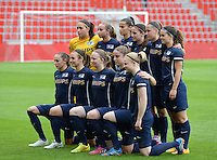 20150508 - LIEGE , BELGIUM : PSV teamphoto pictured during the soccer match between the women teams of Standard de Liege Femina and PSV Eindhoven , on the 26th and last matchday of the BeNeleague competition Friday 8 th May 2015 in Stade Maurice Dufrasne in Liege . PHOTO DAVID CATRY