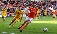 Blackpool's Ryan Hardie shields the ball from Milton Keynes Dons' Regan Poole<br /> <br /> Photographer Alex Dodd/CameraSport<br /> <br /> The EFL Sky Bet League One - Blackpool v MK Dons  - Saturday September 14th 2019 - Bloomfield Road - Blackpool<br /> <br /> World Copyright © 2019 CameraSport. All rights reserved. 43 Linden Ave. Countesthorpe. Leicester. England. LE8 5PG - Tel: +44 (0) 116 277 4147 - admin@camerasport.com - www.camerasport.com
