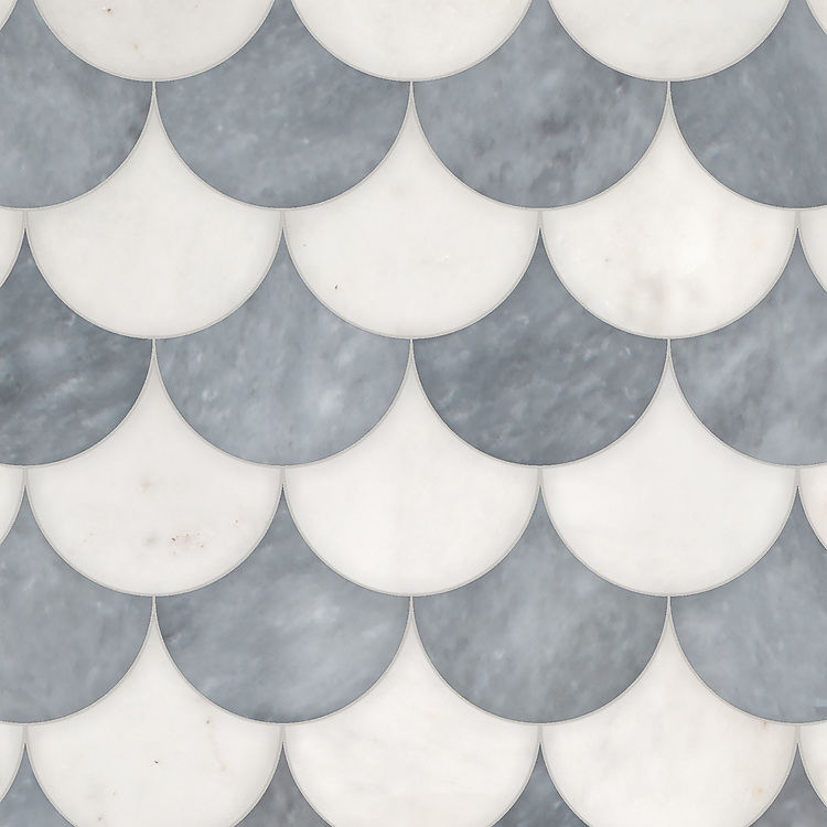 Mermaid Scales, a waterjet stone mosaic, shown in polished Afyon White and Allure, is part of the Semplice® collection for New Ravenna.