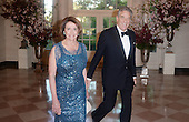United States House Democratic Leader Nancy Pelosi (Democrat of California) and Paul Pelosi arrive for the State dinner in honor of Japanese Prime Minister Shinzo Abe and Akie Abe April 28, 2015 at the Booksellers area of the White House in Washington, DC. <br /> Credit: Olivier Douliery / Pool via CNP