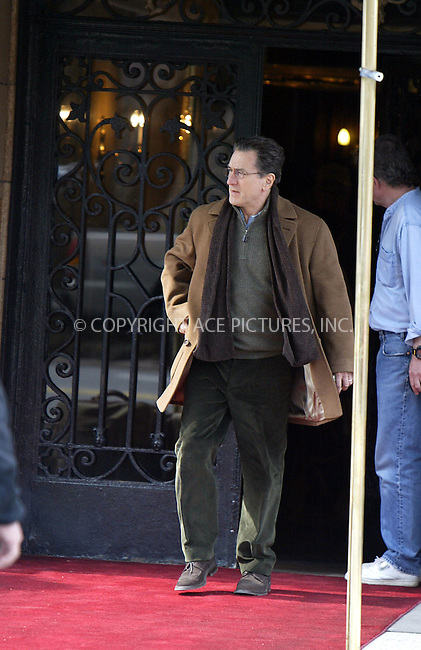 "Actor Robert De Niro on the set of the new movie ""Hide and Seek"" on the Upper West Side of Manhattan. ""Hide and Seek"" is a horror thriller directed by John Polson, and castsRobert  De Niro as a widower recovering from his wife's suicide. His daughter, played by Dakota Fanning finds solace in an imaginary friend. March 26 2004. Please byline: ACE Pictures.   ..*PAY-PER-USE*      ....IMPORTANT: Please note that our old trade name, NEW YORK PHOTO PRESS (NYPP), is replaced by our new name, ACE PICTURES. New York Photo Press and ACE Pictures are owned by All Celebrity Entertainment, Inc.......All Celebrity Entertainment, Inc:  ..contact: Alecsey Boldeskul (646) 267-6913 ..Philip Vaughan (646) 769-0430..e-mail: info@nyphotopress.com"