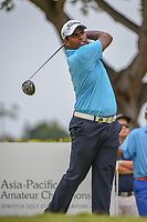 Rayhan THOMAS (IND) watches his tee shot on 12 during Rd 4 of the Asia-Pacific Amateur Championship, Sentosa Golf Club, Singapore. 10/7/2018.<br /> Picture: Golffile | Ken Murray<br /> <br /> <br /> All photo usage must carry mandatory copyright credit (&copy; Golffile | Ken Murray)