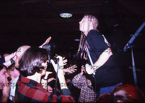 THE OFFSPRING - vocalist Dexter Holland - performing live at the Paradiso in Amsterdam Netherlands - 07 Apr 1995.  Photo credit: Tony Woolliscroft/IconicPix