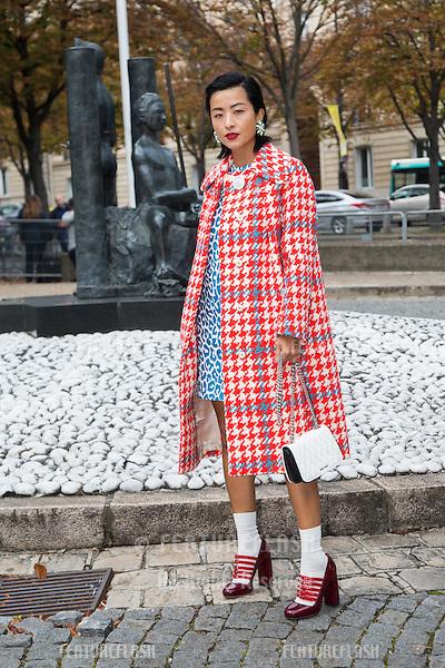 Unknown guest attends Miu Miu Show Front Row - Paris Fashion Week  2016.<br /> October 7, 2015 Paris, France<br /> Picture: Kristina Afanasyeva / Featureflash