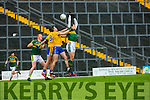 Kerry duo David Moran, Johnny Buckley contest the kick out with Roscommons Enda  Smith and Ian Kilbride during their NFKL Div 1 clash in Fitzgerald Stadium on Sunday