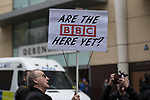 "© Joel Goodman - 07973 332324. 24/03/2018. Birmingham, UK. A man holds a placard reading "" Are the BBC here yet "" at a Football Lads Alliance demonstration against Islam and extremism in Birmingham City Centre . Offshoot group, The True Democratic Football Lads Alliance, also hold a separate demonstration . Photo credit : Joel Goodman"