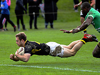 Mike Buckley scores during the Mitre 10 Cup preseason rugby match between the Wellington Lions and Manawatu Turbos at Otaki Domain in Otaki, New Zealand on Sunday, 6 August 2017. Photo: Dave Lintott / lintottphoto.co.nz