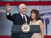 United States Vice President Mike Pence and Karen Pence at the 2018 Conservative Political Action Conference (CPAC) at the Gaylord National Resort and Convention Center in National Harbor, Maryland on Thursday, February 22, 2018.<br /> Credit: Ron Sachs / CNP