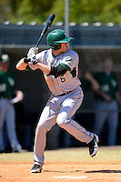 Slippery Rock outfielder Jake Weibley (6) during a game against the Wayne State Warriors on March 15, 2013 at Chain of Lakes Park in Winter Haven, Florida.  (Mike Janes/Four Seam Images)