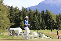 Lucas Bjerregaard (DEN) on the 17th hole during Sunday's Final Round 4 of the 2018 Omega European Masters, held at the Golf Club Crans-Sur-Sierre, Crans Montana, Switzerland. 9th September 2018.<br /> Picture: Eoin Clarke | Golffile<br /> <br /> <br /> All photos usage must carry mandatory copyright credit (© Golffile | Eoin Clarke)