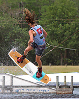 ORLANDO, FL - April 29:  Elliott Digney AUS finishes first in Heat #02 of the semi-finals in the Junior Men's Professional Division and advances to the finals at the WWA Nautique Wake Open 2017 at  the Orlando Watersports Complex on April 29, 2017 in Orlando, Florida. (Photo by Liz Lamont/Eclipse Sportswire/Getty Images)