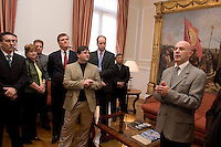 South America, Argentina, Buenos Aires, Evangelism - An evangelical group prays with Buenos Aires Mayor, Chief of Government, Jorge Telerman in his office. July 2006, &copy;Stephen Blake Farrington<br />