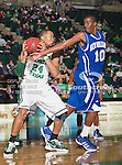 North Texas Mean Green forward Kedrick Hogans (24) and New Orleans Privateers forward Antonio Wertz (10) in action during the game between the New Orleans Privateers and the University of North Texas Mean Green at the North Texas Coliseum,the Super Pit, in Denton, Texas. UNT defeated UNO 78 to 47.....