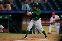 Daytona Tortugas second baseman Randy Ventura (1) squares to bunt during a Florida State League game against the Palm Beach Cardinals on April 11, 2019 at Roger Dean Stadium in Jupiter, Florida.  Palm Beach defeated Daytona 6-0.  (Mike Janes/Four Seam Images)