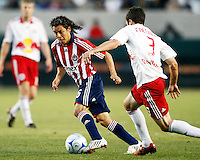 Chivas USA midfielder, Francisco Mendoza(6) looks to get around NY Red Bulls defender, Hunter Freeman(3) during the 1st half. Chivas USA  took on the NY Red Bulls on June 28, 2008 at the Home Depot Center in Carson, CA. The game ended in a 1-1 tie.