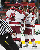 Kyle Criscuolo (Harvard - 11), Jimmy Vesey (Harvard - 19), Tyler Moy (Harvard - 2), Alexander Kerfoot (Harvard - 14) - The Harvard University Crimson defeated the visiting Princeton University Tigers 5-0 on Harvard's senior night on Saturday, February 28, 2015, at Bright-Landry Hockey Center in Boston, Massachusetts.