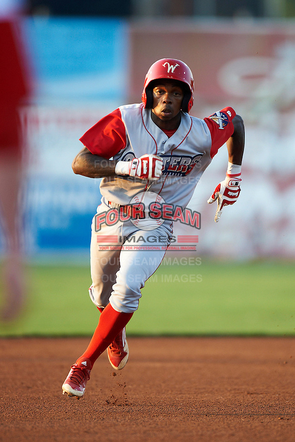 Williamsport Crosscutters shortstop Roman Quinn #4 during a NY-Penn League game against the Batavia Muckdogs at Dwyer Stadium on August 25, 2012 in Batavia, New York.  Batavia defeated Williamsport 6-5.  (Mike Janes/Four Seam Images)