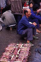 Skinned rats for sale at Qing Ping market, Guangzhou China. Rats are a common food in south China and the delicacy is believed to enrich the blood and stop balding and increase hair quality...PHOTO BY SINOPIX