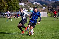 Action from the Central League football match between Waterside Karori and Miramar Rangers at Karori Park in Wellington New Zealand on Saturday, 18 August 2018. Photo: Dave Lintott / lintottphoto.co.nz