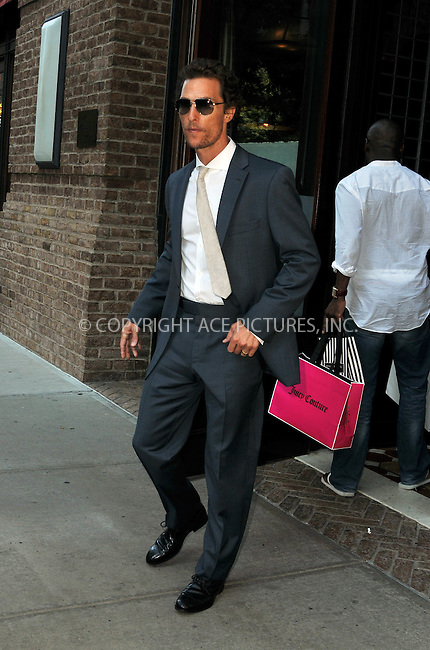 WWW.ACEPIXS.COM....July 24 2012, New York City....Actor Matthew McConaughey leaves a downtown hotel on July 24 2012 in New York City....By Line: Curtis Means/ACE Pictures......ACE Pictures, Inc...tel: 646 769 0430..Email: info@acepixs.com..www.acepixs.com