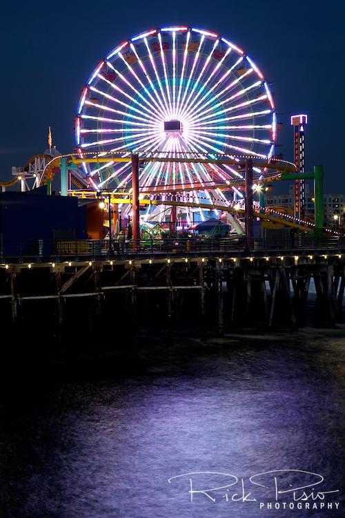 Ferris Wheel on the Santa Monica Pier at night.