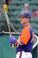 Left fielder Reed Rohlman (26) of the Clemson Tigers prior to the Reedy River Rivalry game against the South Carolina Gamecocks on Saturday, February 28, 2015, at Fluor Field at the West End in Greenville, South Carolina. South Carolina won, 4-1. (Tom Priddy/Four Seam Images)